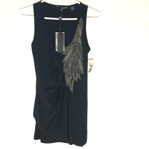 NWT Miss Me Black Tank Top Ruched Embellished Sz M